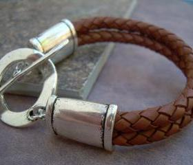 Womens, Leather Bracelet, Large Toggle, Double Strand, Saddle Brown, Braided