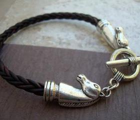 Mens, Womens, Unisex, Leather Bracelet, Horse Bracelet, Antique Brown Braided, Equine, Equestrian