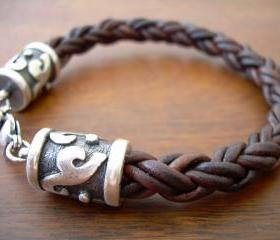Mens Leather Bracelet with Rhodium Plate Caps and Clasp - Natural Antique Brown