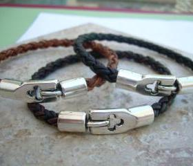 Mens Braided Leather Bracelet with simple clasp, Mens Jewelry, Mens Bracelet, Mens Gift, Mens Leather Bracelet