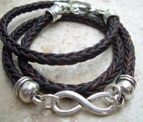 Infinity Bracelet, Leather Bracelet, Triple Wrap, Braided Leather Bracelet, Mens Jewelry, Womens Jewelry, Mens Bracelet, Womens Bracelet