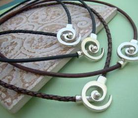 Leather Necklace Men's Women's Unisex - Antique Silver -Tribal Inspired Spiral Pendant Closure, Mens necklace, Womens Necklace