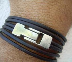 Leather Bracelet, Unisex, Men , Women, Double Strand Triple Wrap, Dark Antique Brown, Industrial Magnetic Clasp