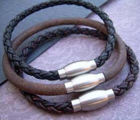 Mens Leather Bracelet with Stainless Steel Magnetic Clasp, Mens Bracelet, Mens Jewelry, Mens Gift