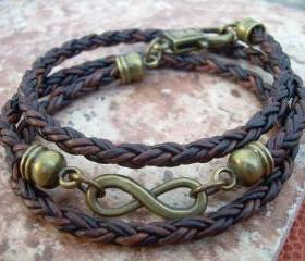 Infinity Bracelet, Leather Bracelet, Triple Wrap, Mens, Womens, Natural Antique Brown/Bronze Braided