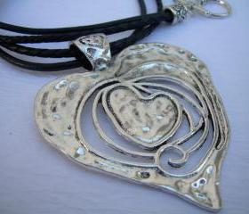 Womens Heart Pendant Leather Necklace