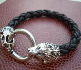 Mens Braided Leather Bracelet, Natural Antique Brown, With Lions Head Toggle Clasp, Mens Gift, Mens jewelry, Mens Bracelet