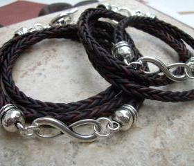 His and Hers Set of Infinity Bracelets, Leather Bracelet, Mens, Womens, Natural Antique Brown Braided