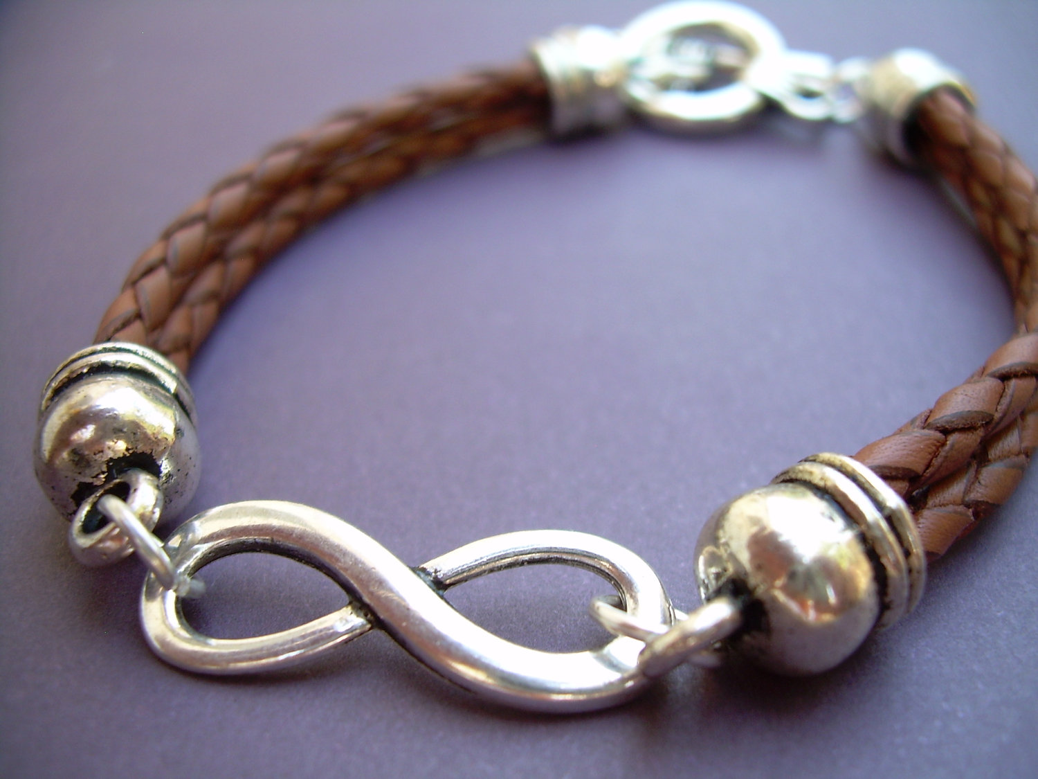 Braided Leather Bracelet Infinity Bracelet Men Women